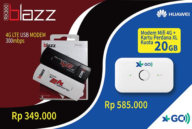 modem USB 4G LTE BLAZZ RX300 vs modem huawei xl go kuota 20gb
